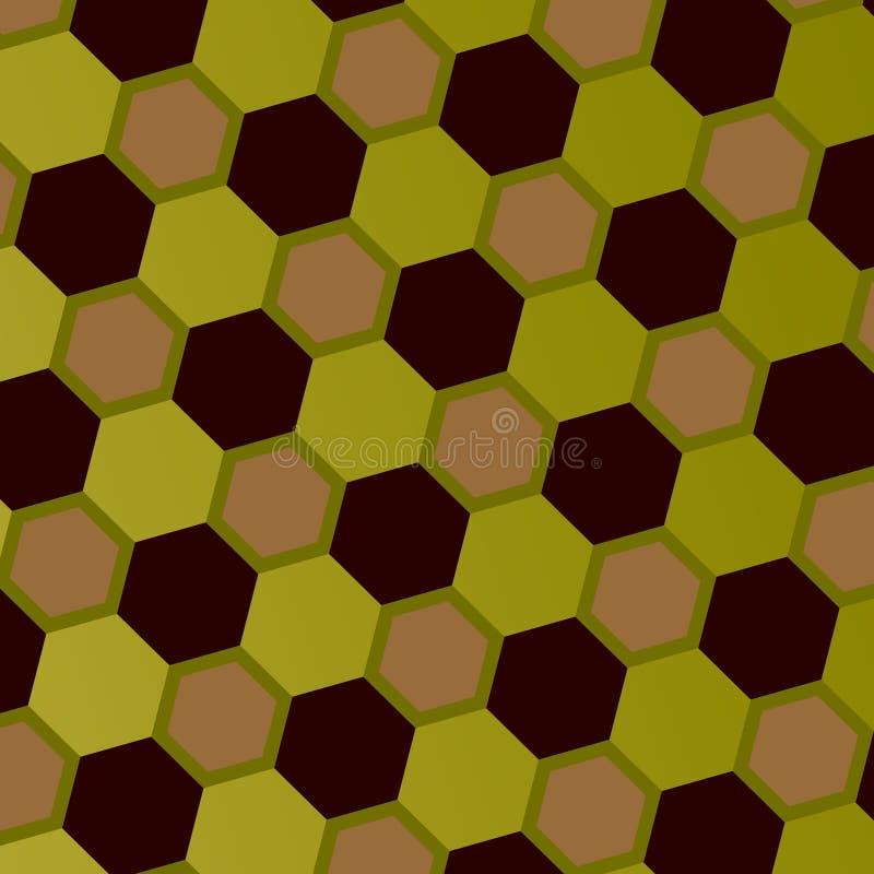 Modelo geométrico abstracto del panal Art Style Mosaic Background Gray Green Brown Hexagons Contexto geométrico adornado embaldos ilustración del vector