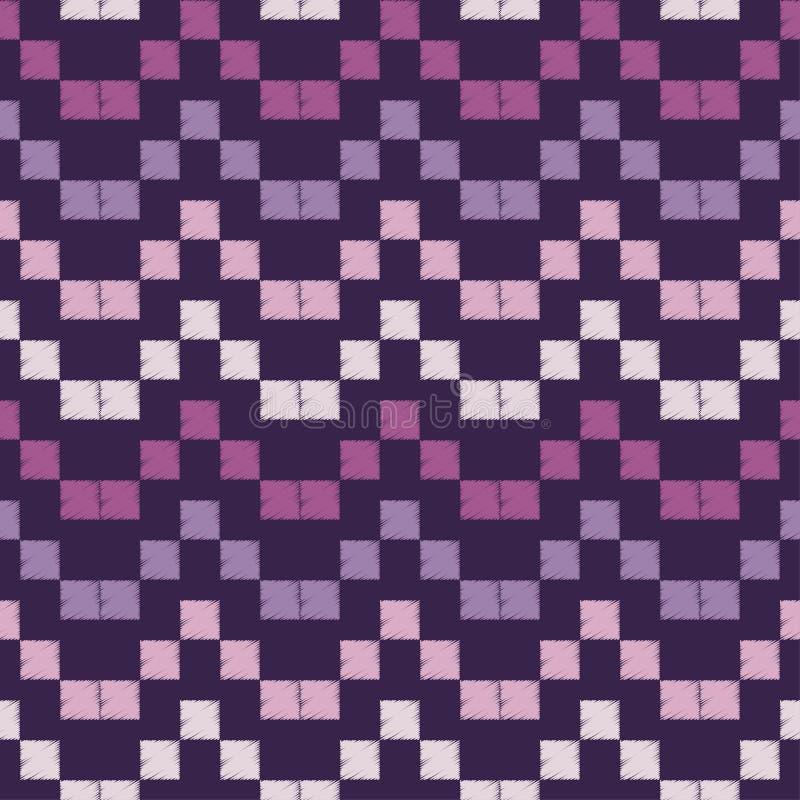 Modelo geométrico abstracto inconsútil El modelo de pixeles Textura de mosaico brushwork Trama de la mano Textura del garabato ilustración del vector