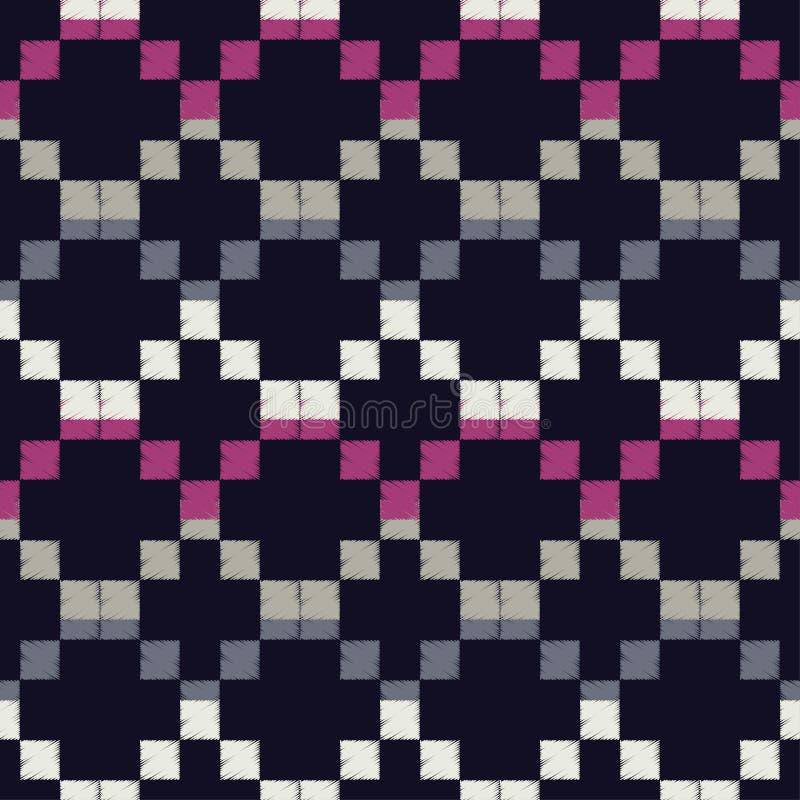 Modelo geométrico abstracto inconsútil El modelo de pixeles Textura de mosaico brushwork Trama de la mano Textura del garabato stock de ilustración