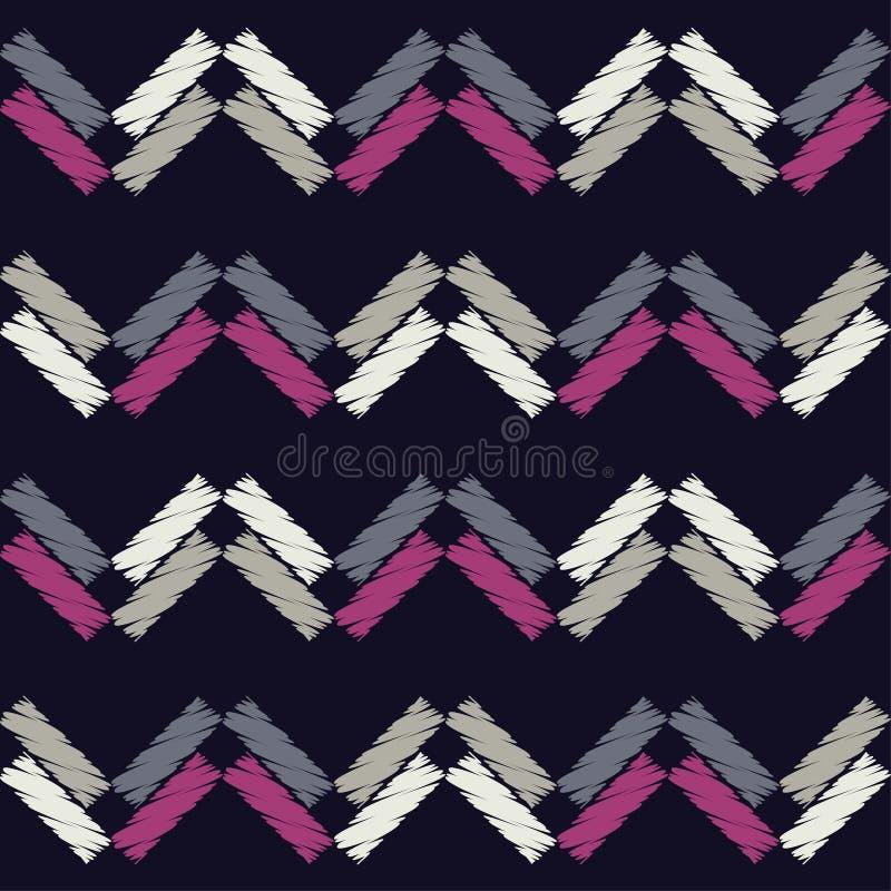 Modelo geométrico abstracto inconsútil La textura de las tiras brushwork Trama de la mano ilustración del vector