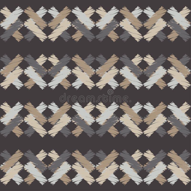 Modelo geométrico abstracto inconsútil La textura de las tiras brushwork Trama de la mano stock de ilustración
