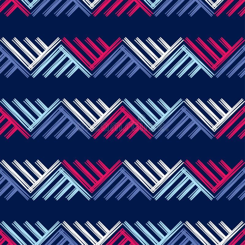 Modelo geométrico abstracto inconsútil La textura de los triángulos brushwork Trama de la mano Textura del garabato stock de ilustración