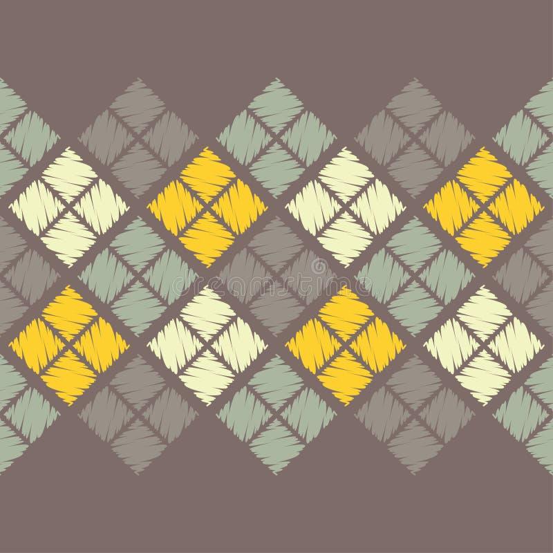 Modelo geométrico abstracto inconsútil La textura del Rhombus brushwork Trama de la mano ilustración del vector