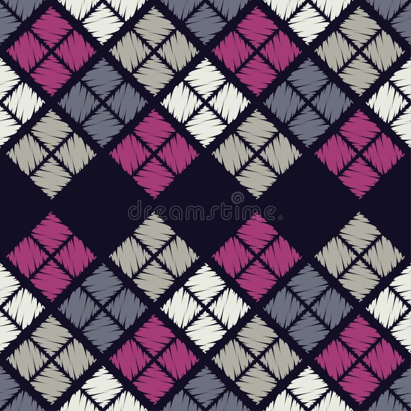 Modelo geométrico abstracto inconsútil La textura del Rhombus brushwork Trama de la mano libre illustration