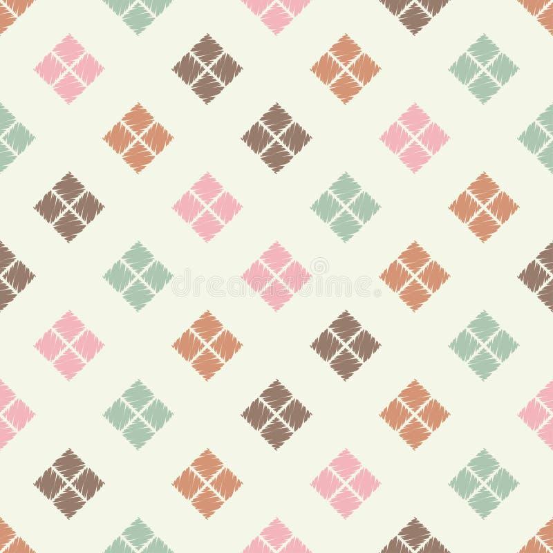 Modelo geométrico abstracto inconsútil La textura del Rhombus brushwork Trama de la mano stock de ilustración