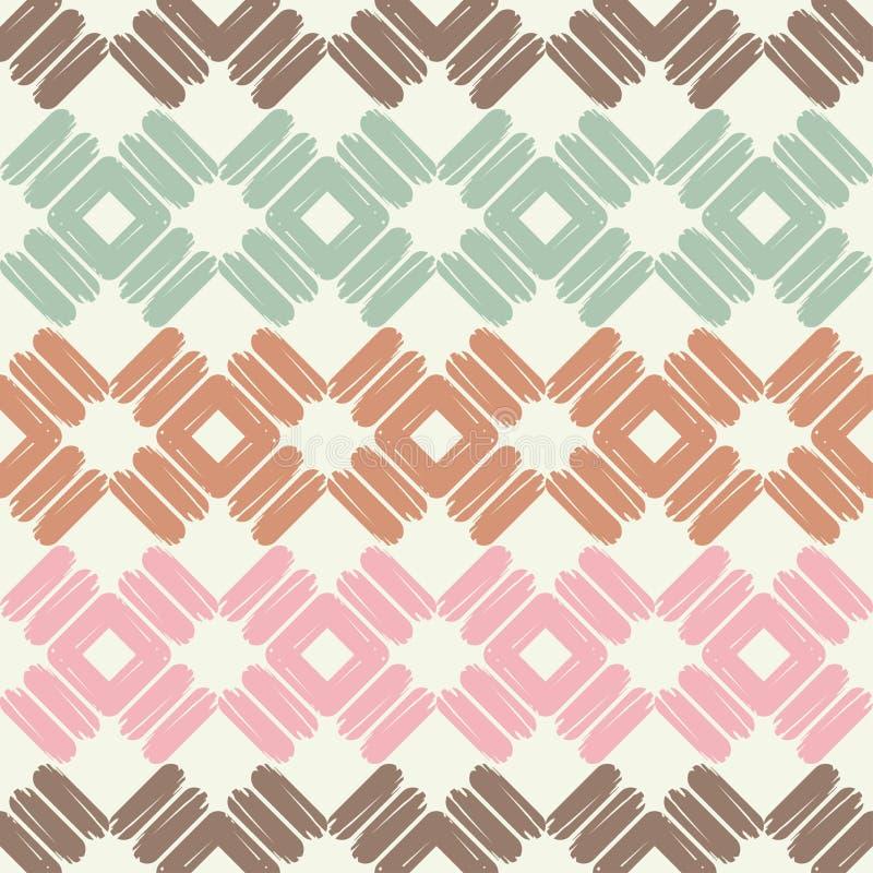 Modelo geométrico abstracto inconsútil La textura del Rhombus brushwork Trama de la mano Textura del garabato stock de ilustración