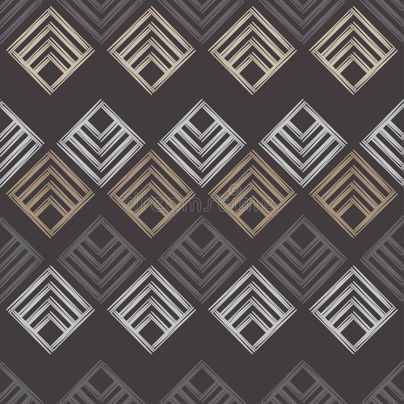 Modelo geométrico abstracto inconsútil La textura del Rhombus brushwork Trama de la mano Textura del garabato libre illustration