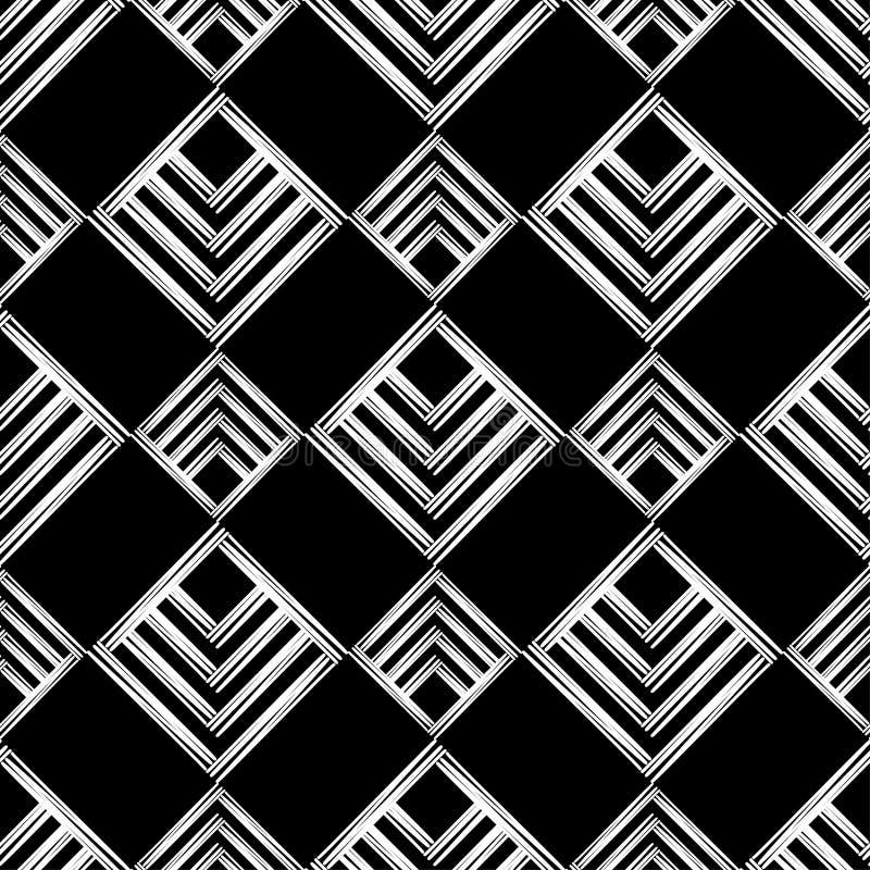 Modelo geométrico abstracto inconsútil La textura del Rhombus brushwork Trama de la mano Textura del garabato ilustración del vector