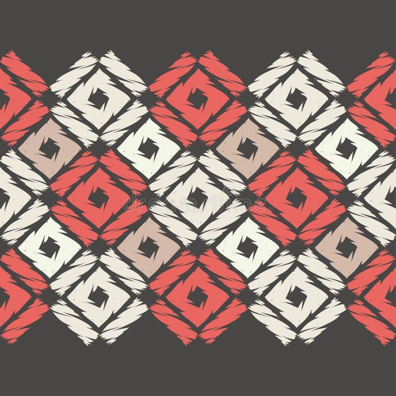 Modelo geométrico abstracto inconsútil Textura de mosaico brushwork Trama de la mano stock de ilustración