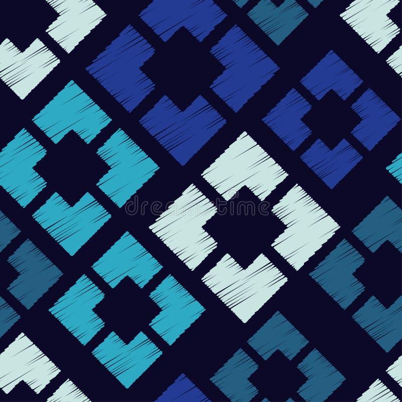 Modelo geométrico abstracto inconsútil Textura de mosaico brushwork Trama de la mano Textura del garabato stock de ilustración