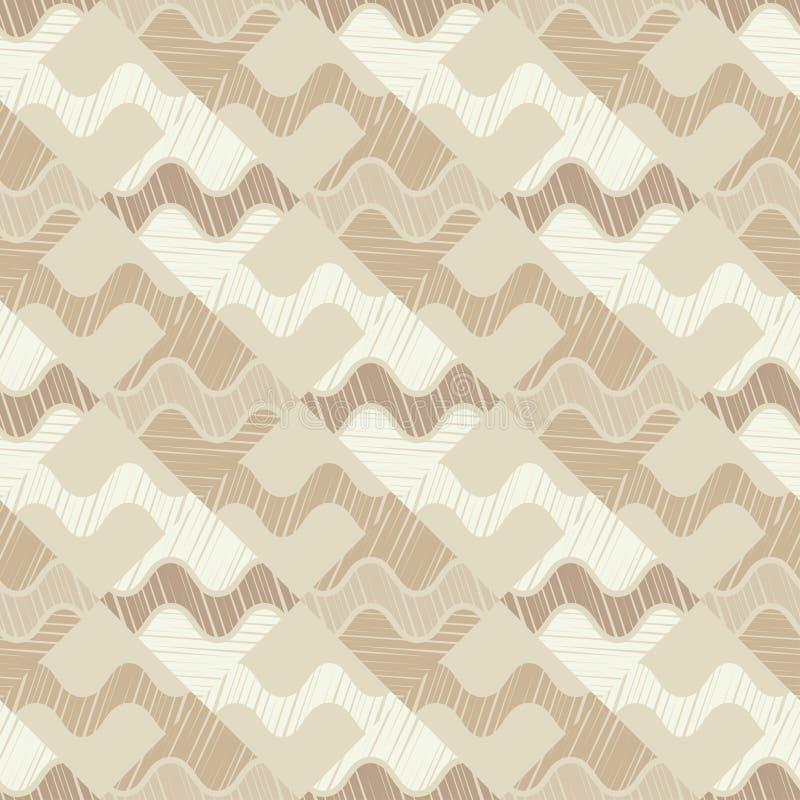 Modelo geométrico abstracto inconsútil Textura de mosaico brushwork Trama de la mano Textura del garabato libre illustration