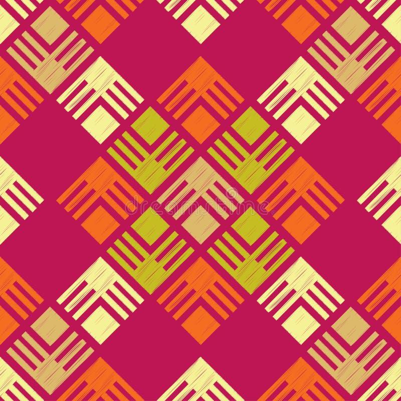 Modelo geométrico abstracto inconsútil Textura de mosaico brushwork Trama de la mano Textura del garabato ilustración del vector