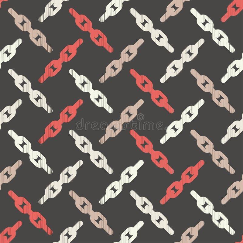 Modelo geométrico abstracto inconsútil Textura de mosaico Textura de cadena brushwork Trama de la mano Textura del garabato ilustración del vector