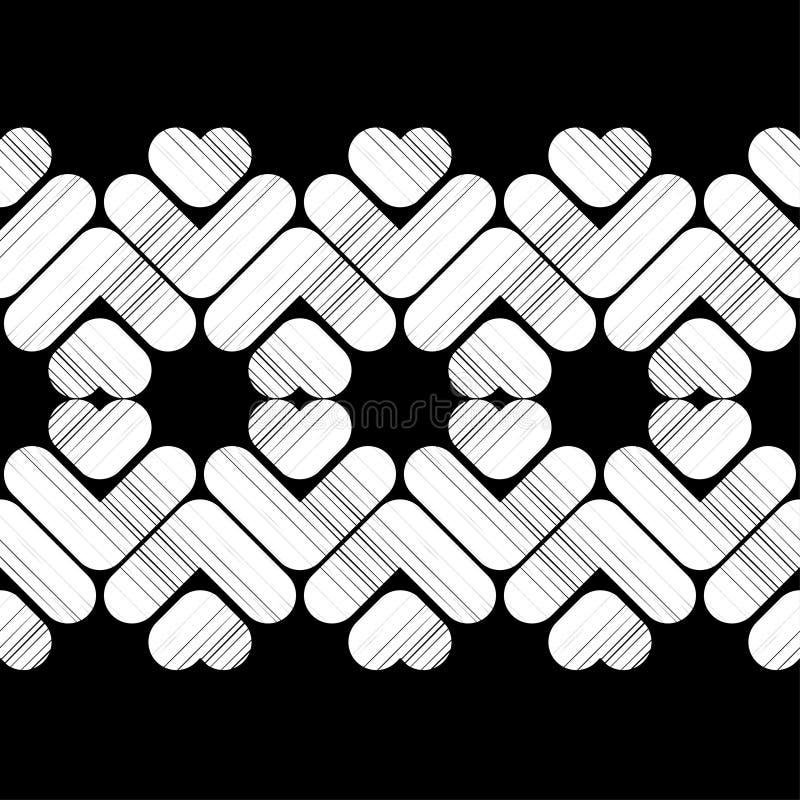Modelo geométrico abstracto inconsútil Textura de mosaico Corazones brushwork Trama de la mano Textura del garabato stock de ilustración