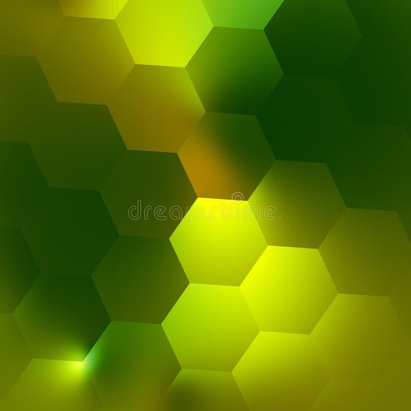 Modelo geométrico abstracto verde del fondo Concepto de diseño moderno iluminado Efecto suave del resplandor Ejemplo de la calida ilustración del vector
