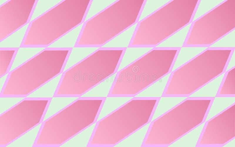 Modelo geométrico abstracto y rombos rosados del diamante en fondo gris claro stock de ilustración