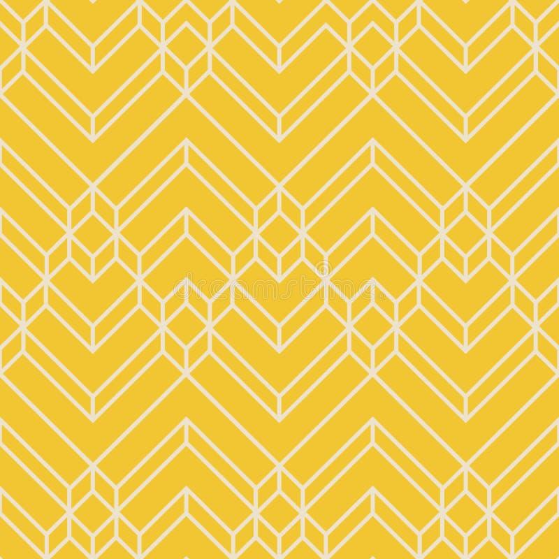 Modelo geométrico amarillo y beige abstracto de Chevron stock de ilustración