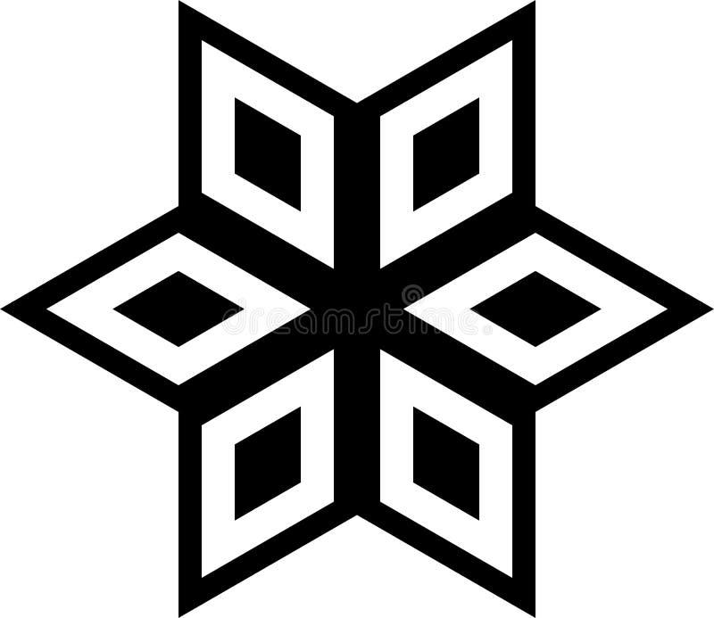 Modelo geométrico blanco y negro en círculo stock de ilustración
