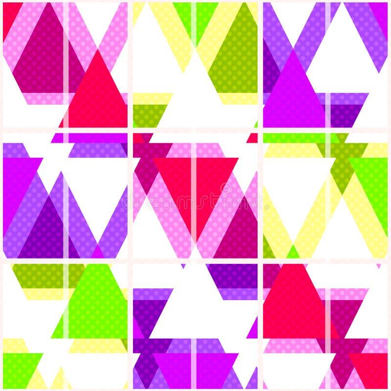 Modelo geométrico brillante inconsútil de los triángulos en blanco ilustración del vector