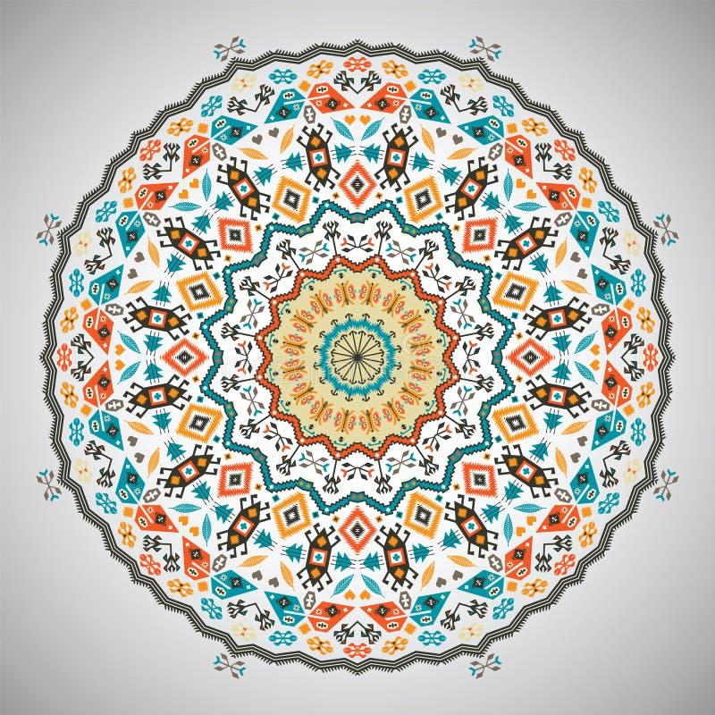 Modelo geométrico colorido redondo ornamental adentro stock de ilustración