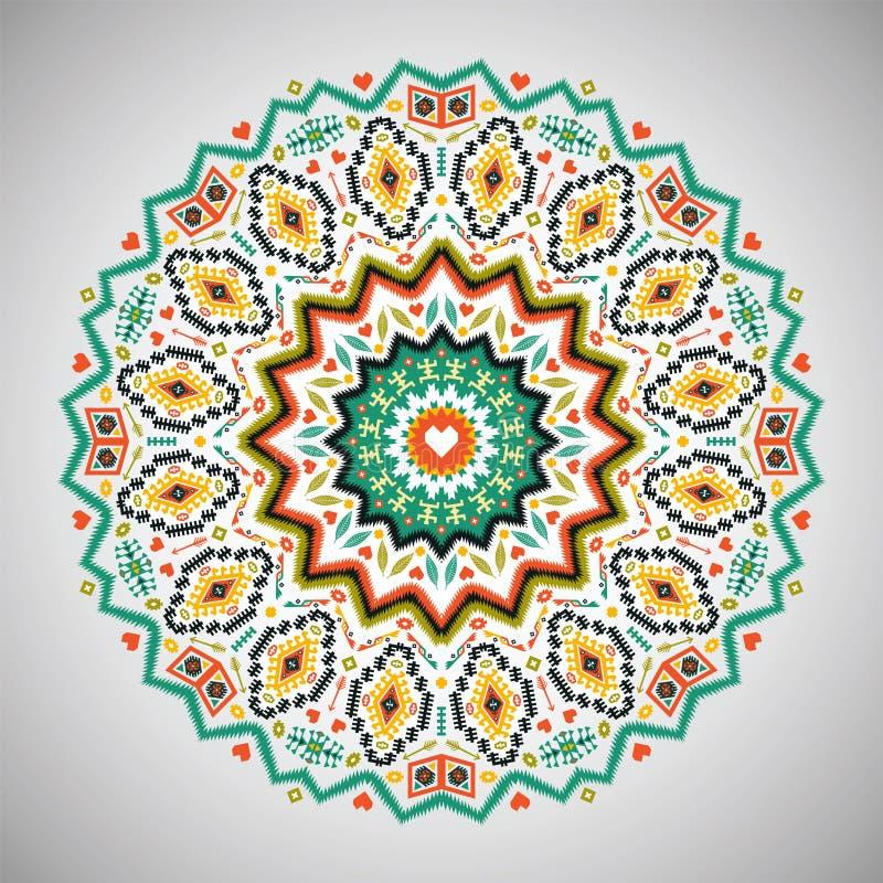 Modelo geométrico colorido redondo ornamental adentro ilustración del vector