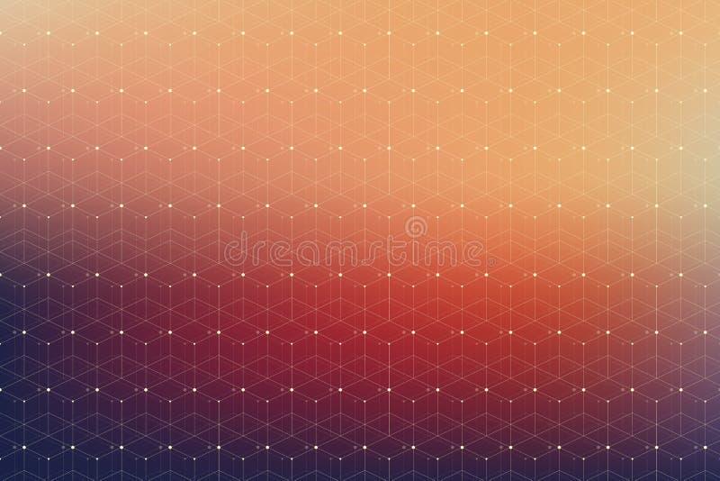 Modelo geométrico con la línea y los puntos conectados imagen de archivo