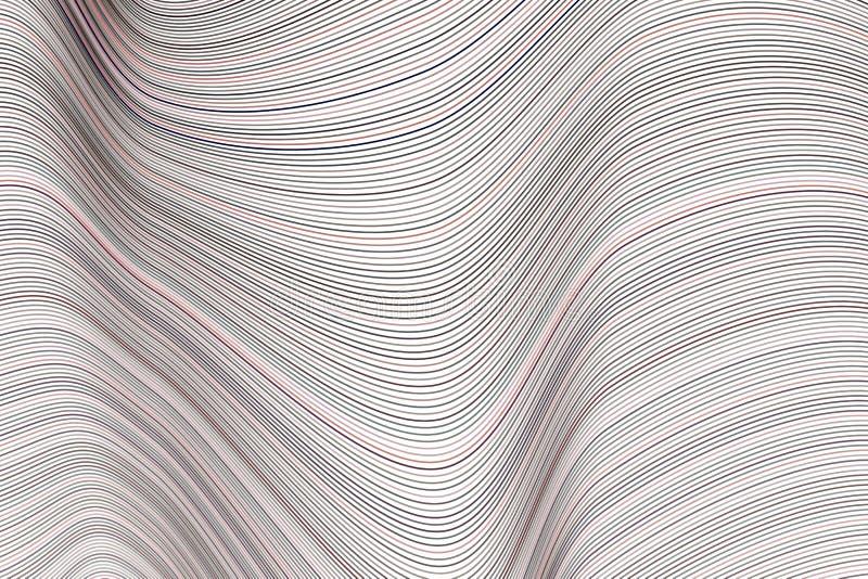 Modelo geométrico conceptual abstracto de la línea, de la curva y de onda Efecto, lona, forma y creativo stock de ilustración