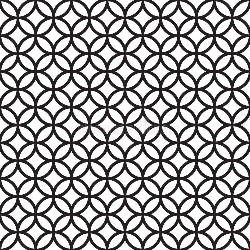 Modelo geométrico de intersección inconsútil del círculo del vintage stock de ilustración