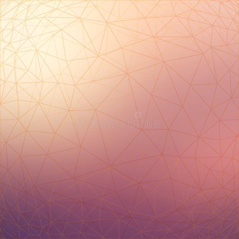 Modelo geométrico de la red del estilo polivinílico bajo triangular en fondo borroso ilustración del vector