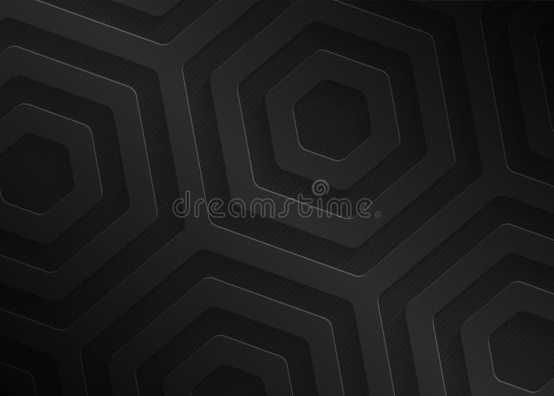 Modelo geométrico de papel negro, plantilla abstracta para el sitio web, bandera, tarjeta de visita, invitación del fondo ilustración del vector