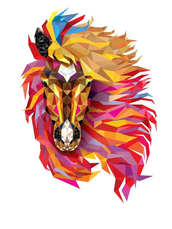 Modelo geométrico del caballo, pelo fabuloso del polígono bajo del caballo, Vec stock de ilustración