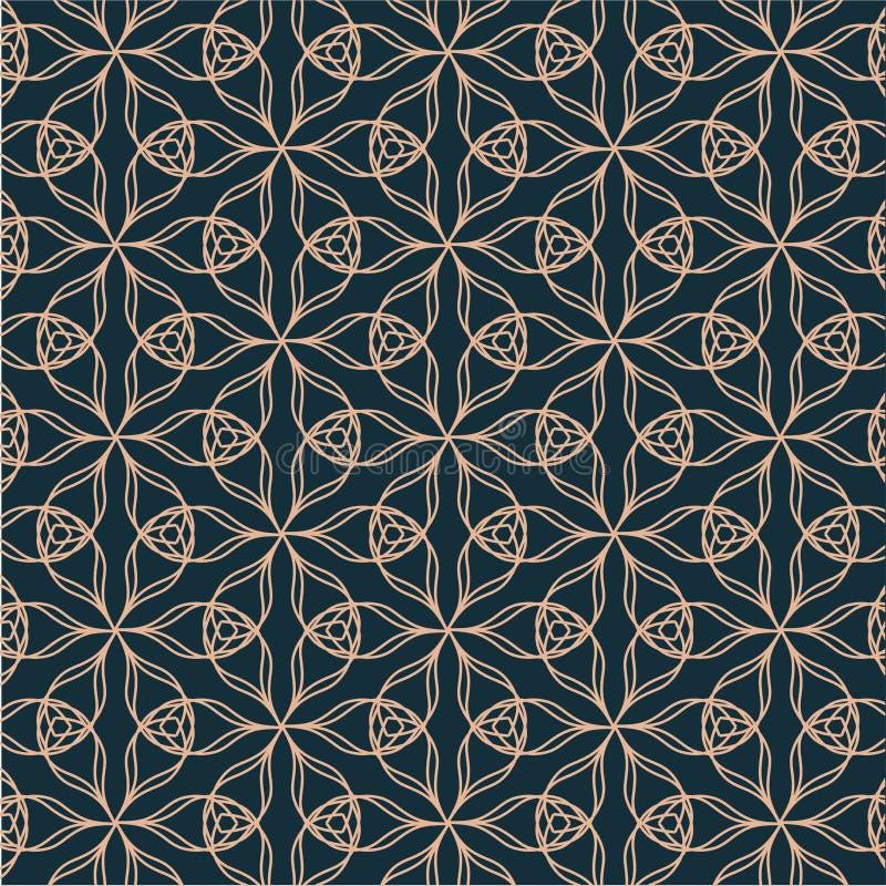 Modelo geométrico del contorno con los elementos florales en fondo azul stock de ilustración