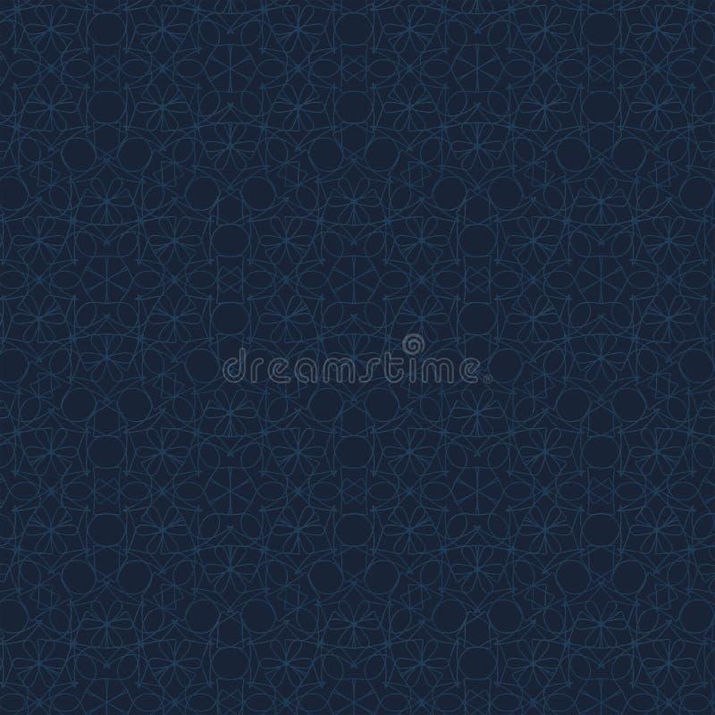 Modelo geométrico del contorno en fondo azul Textura abstracta dibujada mano stock de ilustración