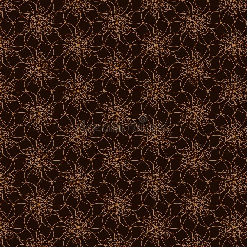 Modelo geométrico del contorno en fondo marrón Fondo abstracto orgánico dibujado mano stock de ilustración
