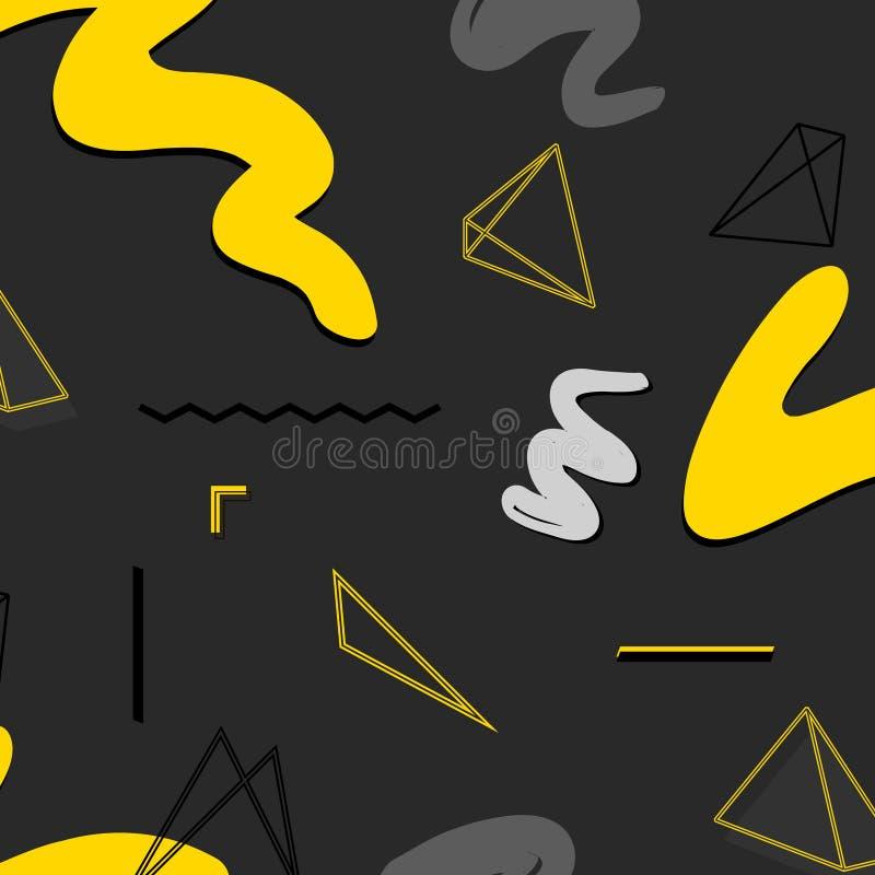 Modelo geométrico del extracto urbano del rectángulo Textura creativa del gráfico de vector Fondo negro gris amarillo del contras stock de ilustración