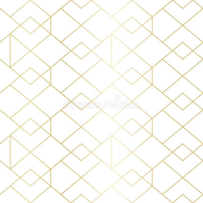 Modelo geométrico del oro inconsútil con la línea Rhombus stock de ilustración