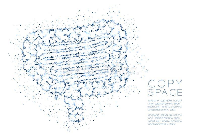 Modelo geométrico del pixel de la caja cuadrada del extracto de la forma del intestino, ejemplo de color azul del diseño de conce stock de ilustración