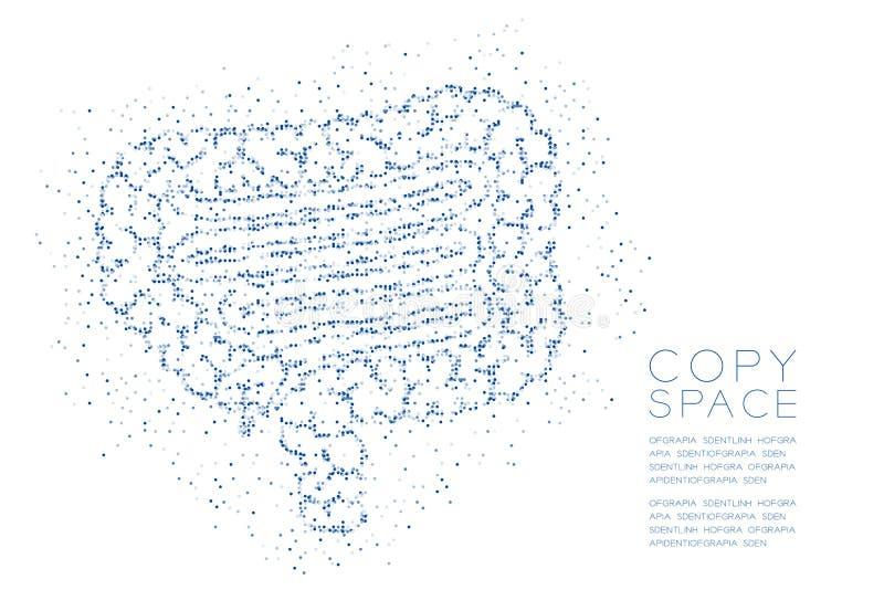 Modelo geométrico del pixel del punto del círculo del extracto de la forma del intestino, ejemplo de color azul del diseño de con stock de ilustración