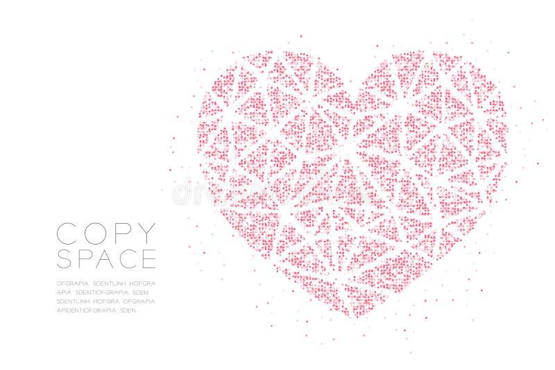 Modelo geométrico del pixel del punto del círculo del extracto del icono del corazón, ejemplo de color del rosa del diseño de con ilustración del vector