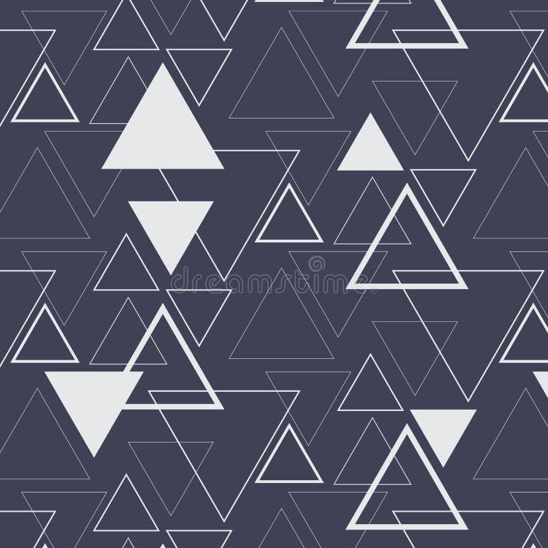 Modelo geométrico del vector, repitiendo el triángulo linear y el triángulo intrépido en diverso tamaño en fondo oscuro ilustración del vector