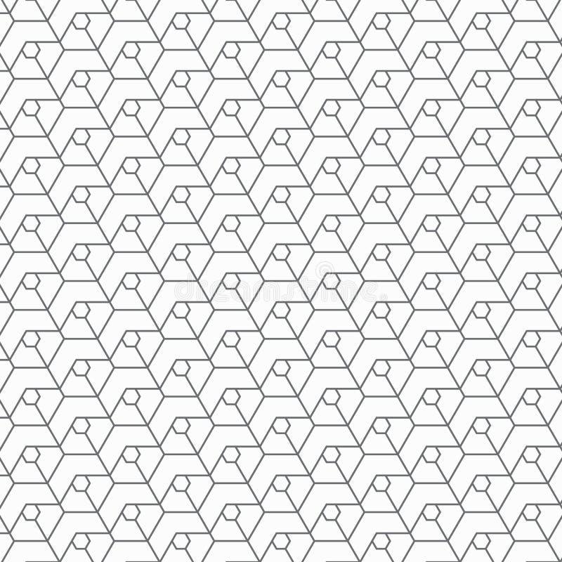 Modelo geométrico del vector, repitiendo hexágono linear y galones stock de ilustración