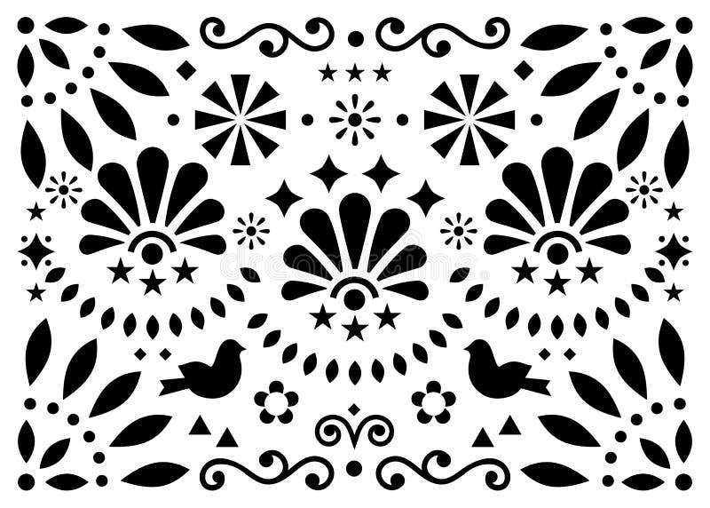 Modelo geométrico del vector tradicional mexicano del arte popular con las flores y los pájaros, tarjeta de felicitación blanco y libre illustration