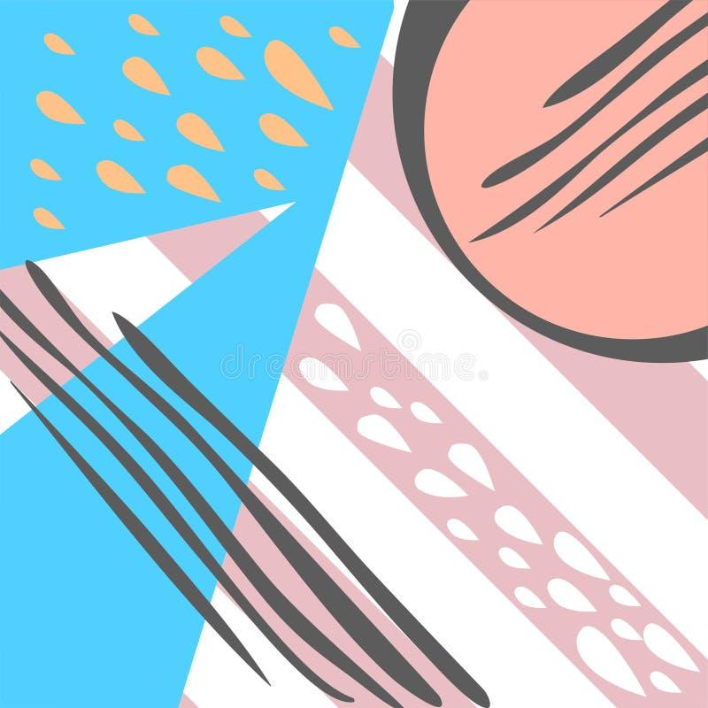 Modelo geométrico en el estilo de Memphis 80s con el fondo de las rayas, descensos, textura, líneas, puntos Ilustración del vecto libre illustration