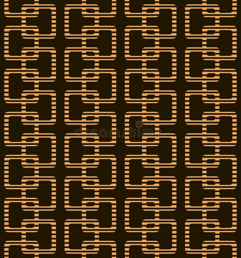 Modelo geométrico inconsútil abstracto en colores negros y anaranjados stock de ilustración