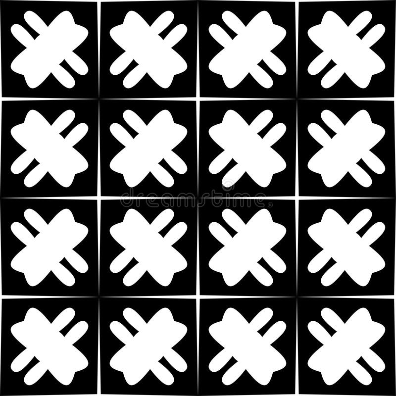 Modelo geométrico inconsútil blanco y negro stock de ilustración