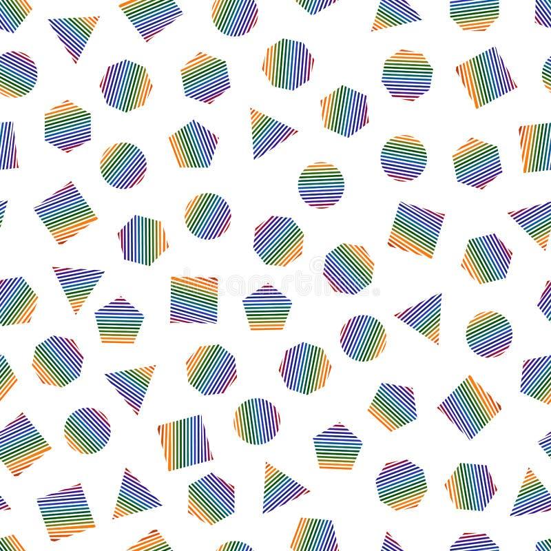 Modelo geométrico inconsútil con los elementos geométricos multicolores para el tejido y las postales Fondo moderno del color de  ilustración del vector