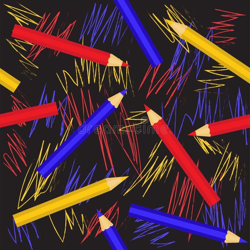 Modelo geométrico inconsútil con los lápices coloridos Vector eps10 stock de ilustración