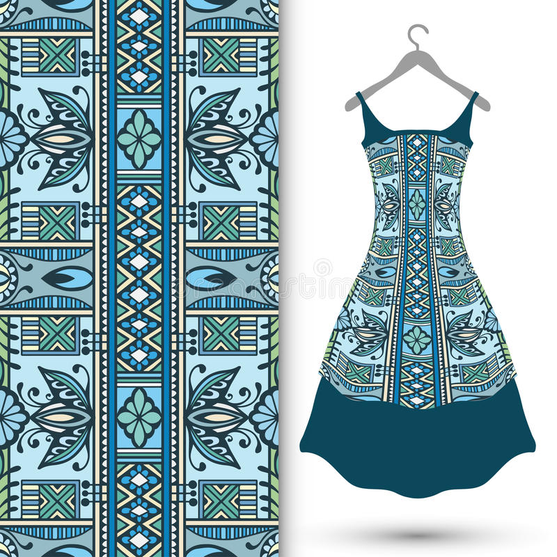 Modelo geométrico inconsútil de la moda, el vestido de las mujeres imágenes de archivo libres de regalías