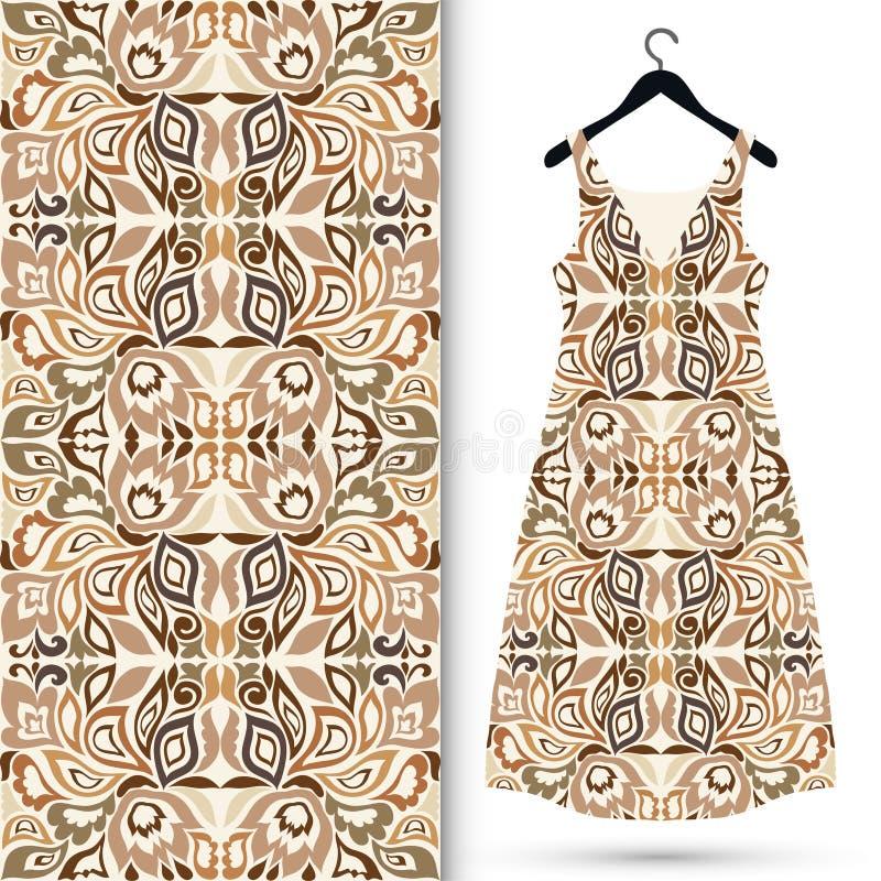 Modelo geométrico inconsútil de la moda, el vestido de las mujeres fotografía de archivo libre de regalías