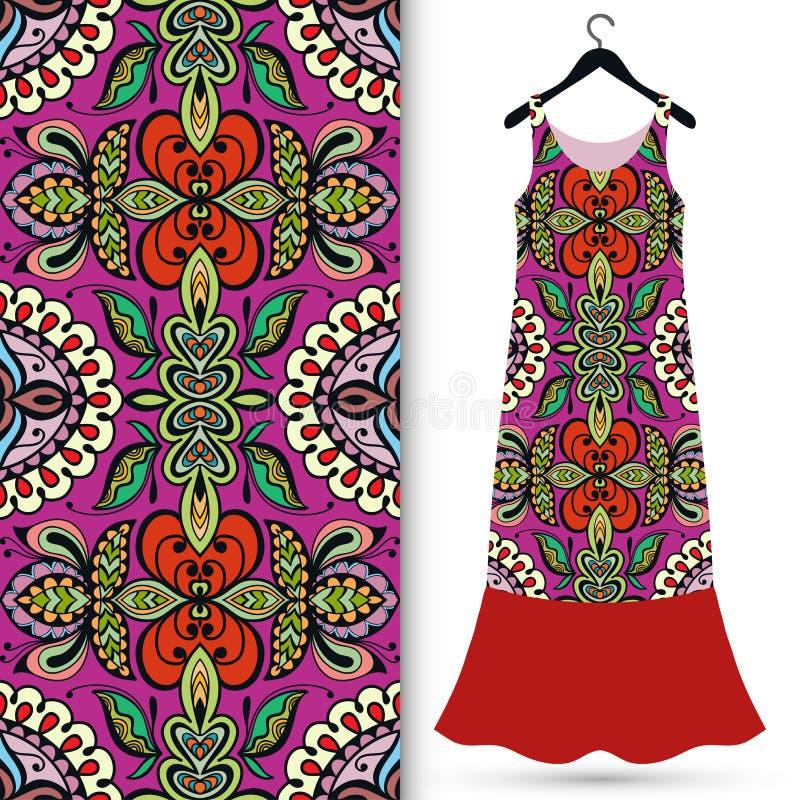 Modelo geométrico inconsútil de la moda, el vestido de las mujeres stock de ilustración